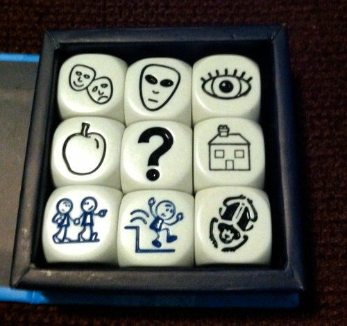 comedy-tragedy masks, alien face, eye, apple, question mark, house, holding hands, jumping down, bug